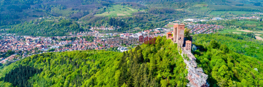 Aerial view of Trifels Castle in the Palatinate Forest. Major tourist attraction in Rhineland-Palatinate State of Germany